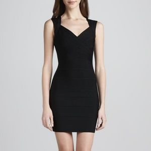 Herve Leger black mini bandage cocktail dress XS